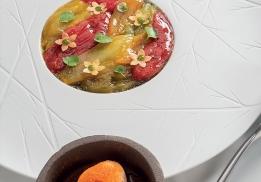 Nuancier de pétales de tomates en différentes textures, sorbet blancs