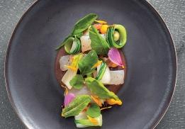 Sandre mariné comme un jambon de pays, champignons, jeunes pousses, mayonnaise au yuzu kosho