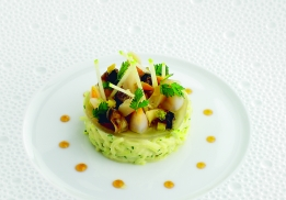 Chou-rave et granny smith façon rémoulade au wasabi, petits coquillages du Bassin, citron confit et tobiko