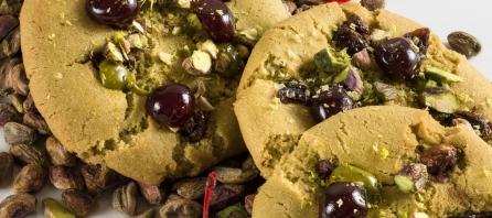 Cookies pistache, cranberries, cerise de Lionel Marchand