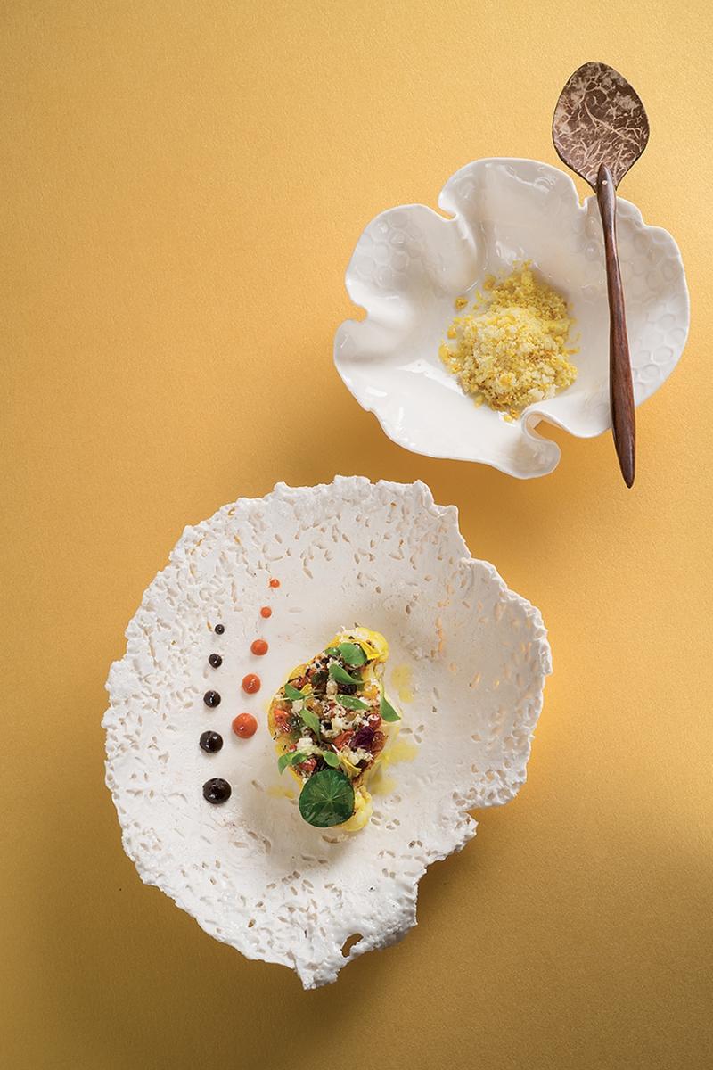 Chou Fleur Maraicher Braise Aux Feuilles De Curry Baies De Goji